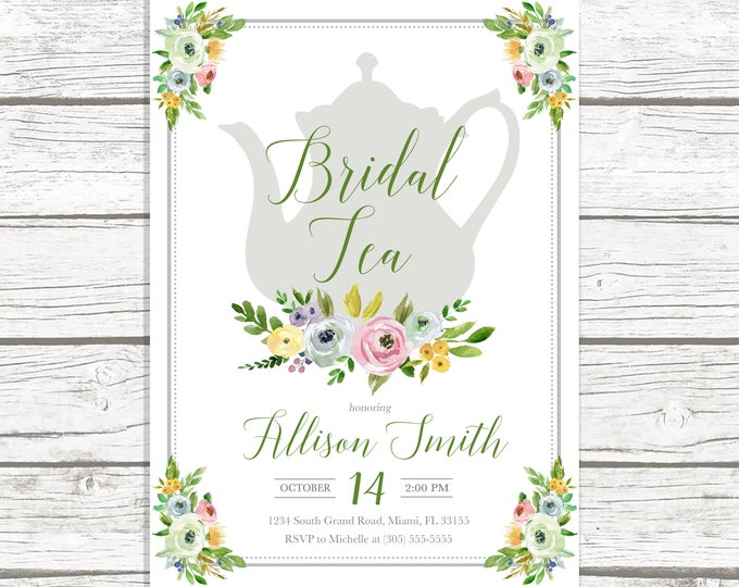 Bridal Shower Tea Invitation, Bridal Tea Invitation, Tea Party Invitation, Green Bridal Shower Invitation, Tea Party Bridal Shower Invite