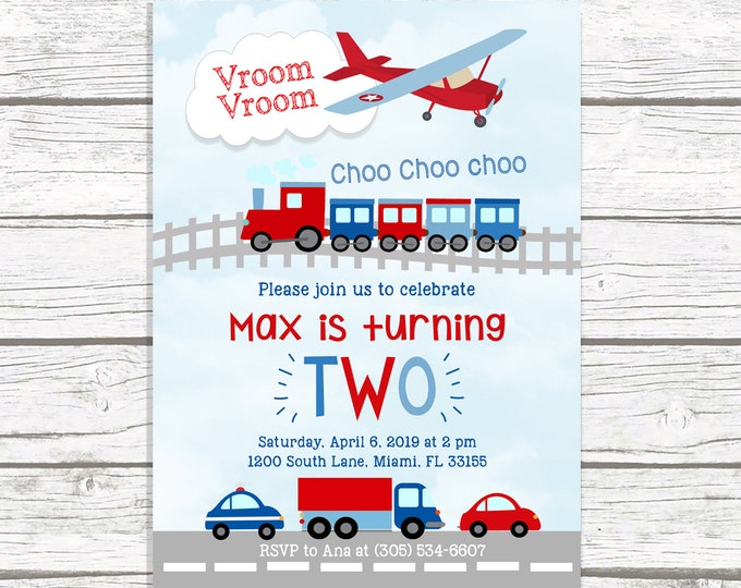 Transportation Birthday Invitation, Planes Trucks and Cars Birthday Invitation, Boy Birthday Invitation, First 1st Birthday Boy Blue and Red