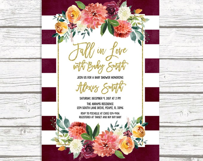 Fall in Love Baby Shower Invitation, Rustic Fall Baby Shower Invitation, Gender Neutral Baby Shower, Burgundy Marsala Baby Shower Invitation