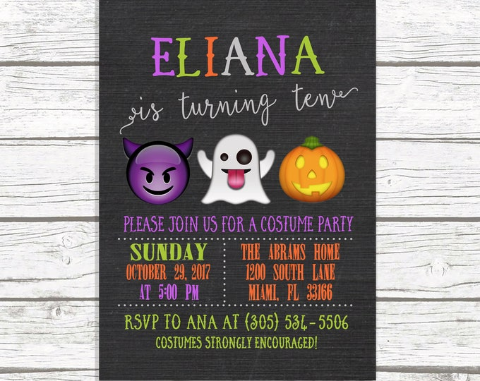 Halloween Birthday Invitation, Emoji Birthday Invitation, Kids Halloween Party Invitation, Kids Costume Party Invitation, Emoji Invitation