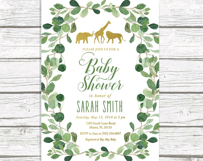 Safari Baby Shower Invitation, Gold Safari Baby Shower Invitation, Gender Neutral Baby Shower Invitation, Jungle Animal Baby Shower Invite