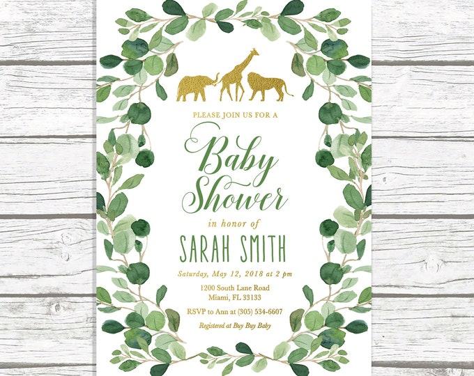 Safari Baby Shower Invitation, Gold Safari Baby Shower Invitation, Gender Neutral Baby Shower Invitation, Jungle Animal Baby Shower Invite