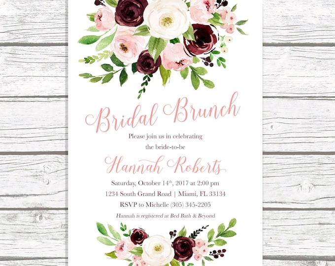 Bridal Shower Brunch Invitation, Burgundy Marsala Bridal Shower Invitation, Bridal Brunch Invitation, Fall Bridal Shower, Printable Invite