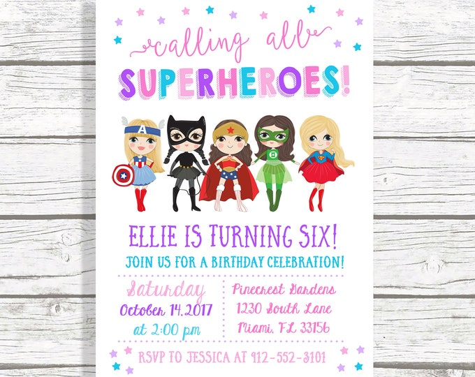 Girl Superhero Invitation, Superhero Birthday Invitation Girl, Superhero Girl Birthday Invitation, Girl Power Invitation, Comic Book Invite