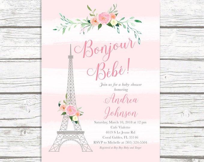 Paris Baby Shower Invitation, French Baby Shower Invitation, Bonjour Bebe Baby Shower Invitation, Eiffel Tower Baby Shower, Parisian Themed