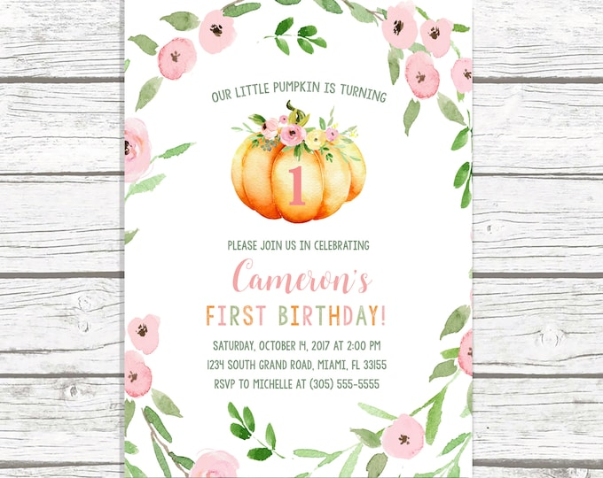 Pumpkin Birthday Invitation, Little Pumpkin Turning One, Pumpkin First 1st Birthday Invitation, Pink Pumpkin Birthday Invite, Floral Pumpkin