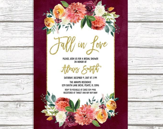 Fall in Love Bridal Shower Invitation, Marsala Bridal Shower Invitation, Burgundy Bridal Shower Invitation, Fall Bridal Shower Invite