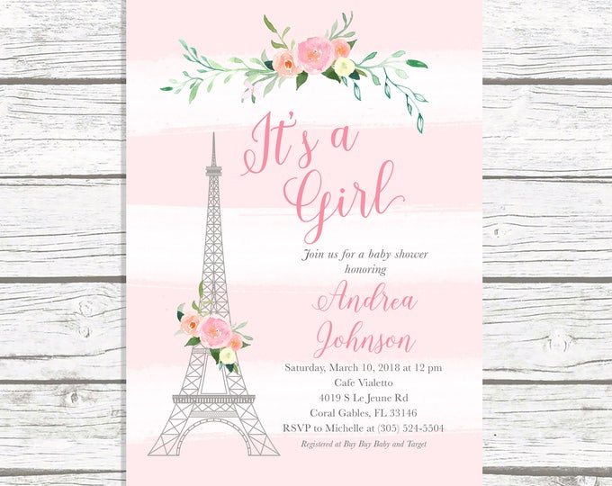 Paris Baby Shower Invitation, French Baby Shower Invitation, Eiffel Tower Baby Shower Invitation, Girl baby Shower, Parisian Themed Invite