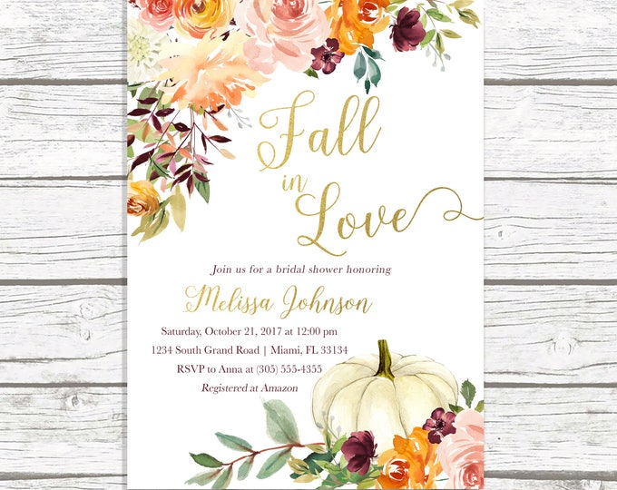 Fall in Love Bridal Shower Invitation, Fall Bridal Shower Invitation, Pumpkin Bridal Shower Invitation, Falling in Love Bridal Shower Invite