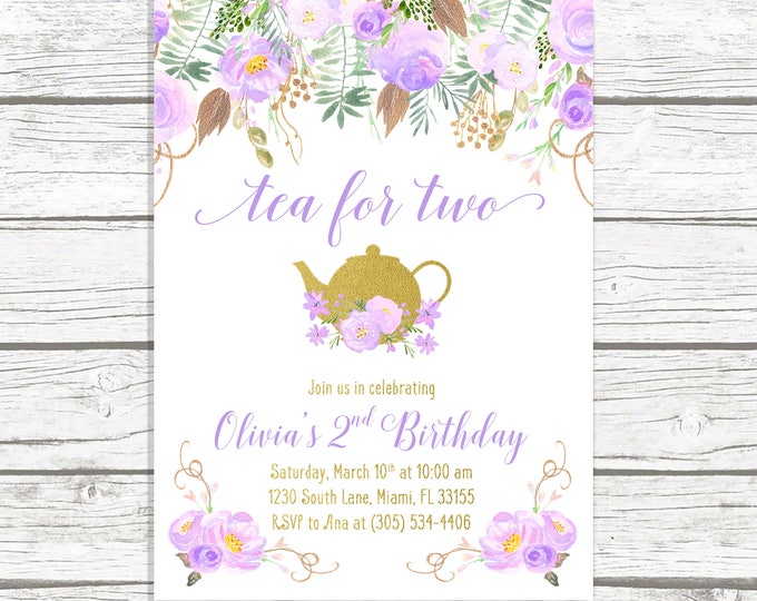 Tea for Two, Tea Party Birthday Invitation, Tea Party Invitation, Lavender Birthday Invitation, Purple Girl First Birthday Party Invitation