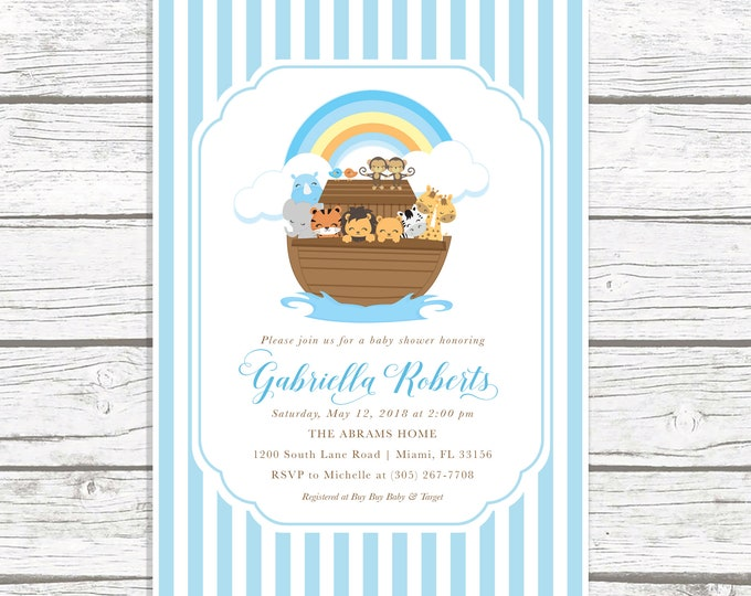 Noah's Ark Baby Shower Invitation, Noah's Ark Invitation, Baby Shower Invitation Boy, Animal Baby Shower Invite, Noah's Ark Invite
