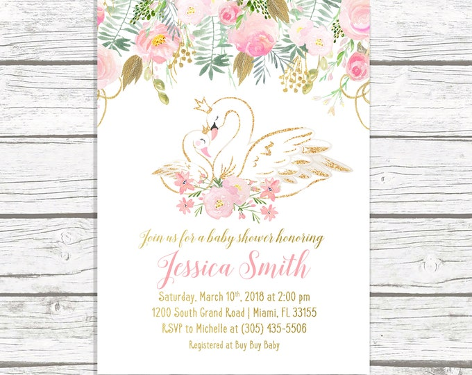 Swan Baby Shower Invitation, Swan Invitation, Swan Princess Baby Shower, Pink and Gold Baby Shower Invitation, Girl Baby Shower