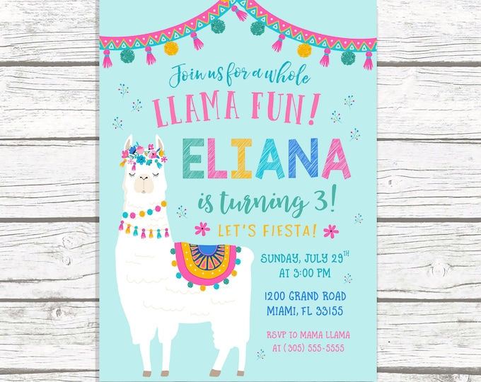 Llama Invitation, Llama Fun Birthday, Fiesta Birthday Invitation, Llama Birthday Fiesta Invitation, Summer Birthday Party, Fiesta Invite