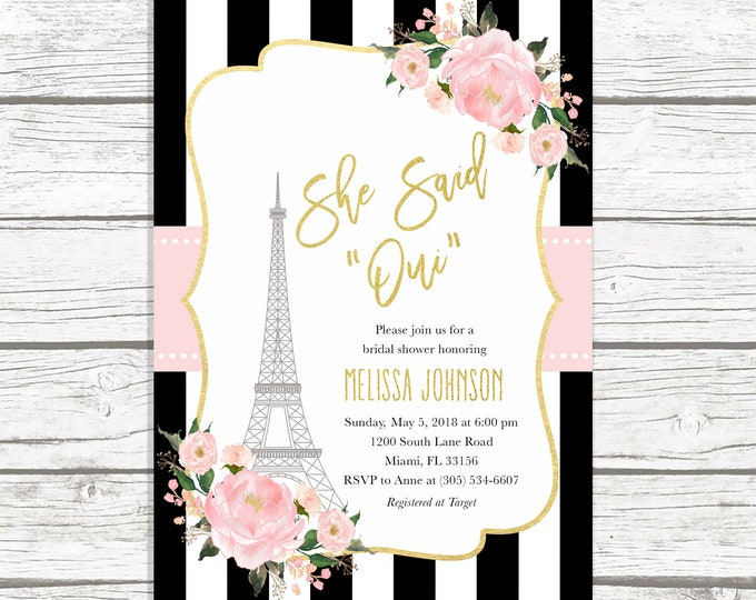 Paris Bridal Shower Invitation, French Bridal Shower Invitation, Eiffel Tower Bridal Shower Invitation, She Said Oui, Parisian Invite