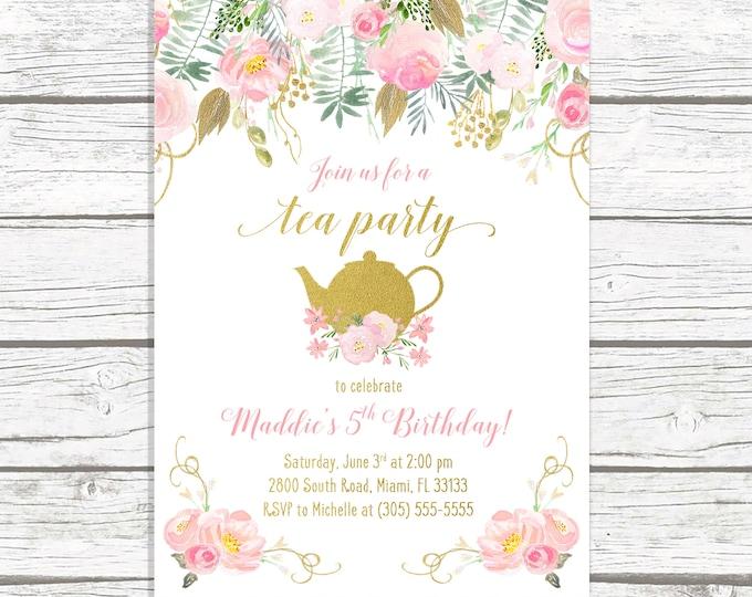 Tea Party Birthday Invitation, Tea Party Invitation, Pink and Gold Birthday Invitation, Girl 1st First Birthday Party Invitation Tea for Two