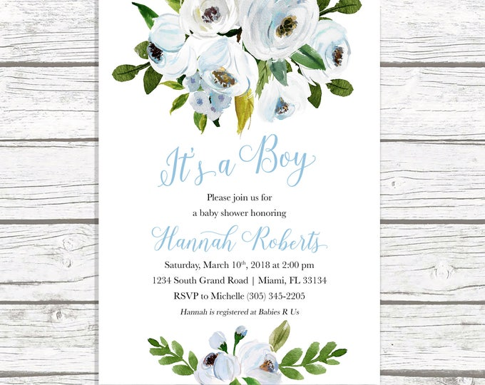 It's a Boy Baby Shower Invitation, Blue Floral Baby Shower Invitation, Rustic Baby Shower Invite, Boy Baby Shower Invite, Blue Baby Shower