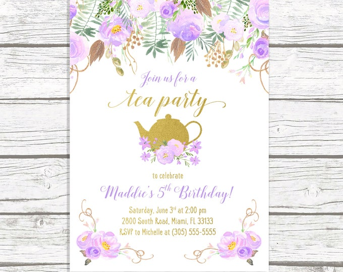 Tea Party Birthday Invitation, Tea Party Invitation, Lavender Birthday Invitation Purple, Girl 1st First Birthday Party Invitation Tea