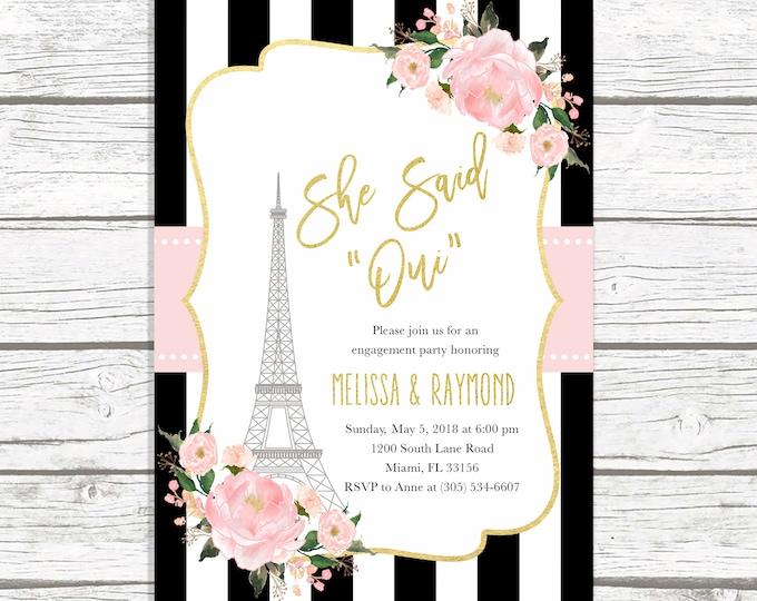 Paris Engagement Party Invitation, French Engagement Party Invitation, Eiffel Tower Engagement Invitation, She Said Oui, Parisian Invite