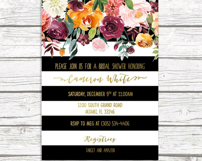 Fall Bridal Shower Invitation, Black and White Fall Bridal Shower Invitation, Black and White Stripe, Fall in Love Bridal Shower Invite