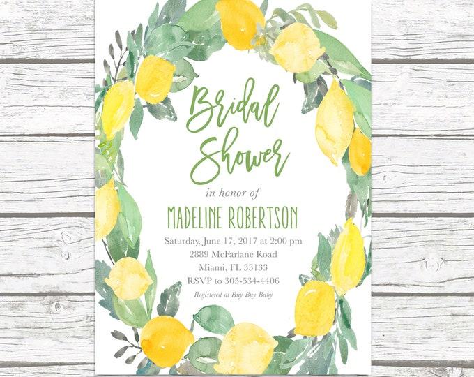 Bridal Shower Invitation, Lemon Bridal Shower Invitation, Garden Bridal Shower Invitation, Bridal Shower Invite, Floral Printable Invite