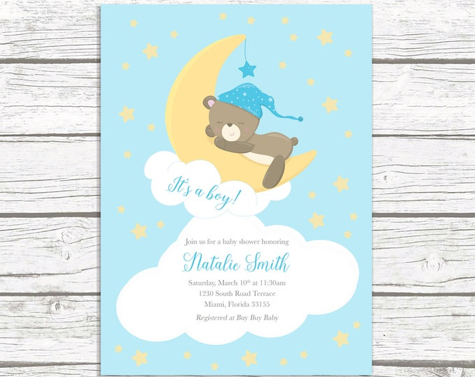 Moon Baby Shower Invitation Boy, Teddy Bear Baby Shower Invitation, It's a Boy Baby Shower Invitation, Moon and Stars Baby Shower Invite