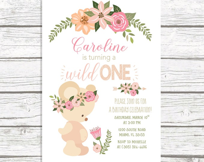 Wild One Birthday Invitation, Boho Birthday Invitation, Girl First 1st Birthday Invite, Teddy Bear Birthday Invitation, Tribal Arrow Invite
