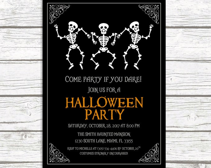 Halloween Party Invitation, Skeleton Halloween Invitation, Dancing Skeletons Halloween Invitation, Costume Party Invitation, Halloween Bash