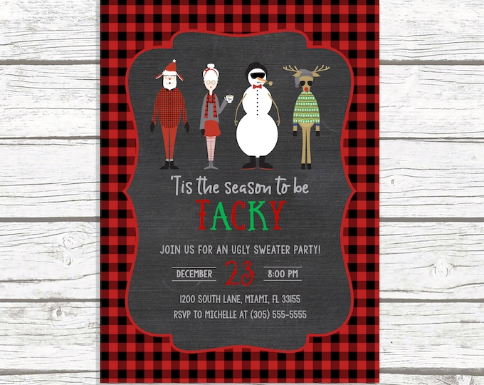 Ugly Christmas Sweater Party Invitation, Tacky Sweater Party Invitation, Holiday Party Invitation, Hipster Holiday Party Invitation
