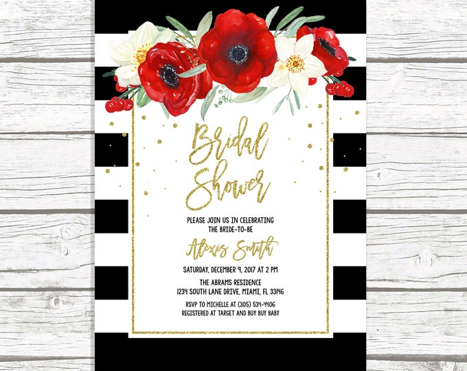 Christmas Bridal Shower Invitation, Black and White Stripe Bridal Shower Invitation, Red Floral Bridal Shower, Christmas Floral Invite