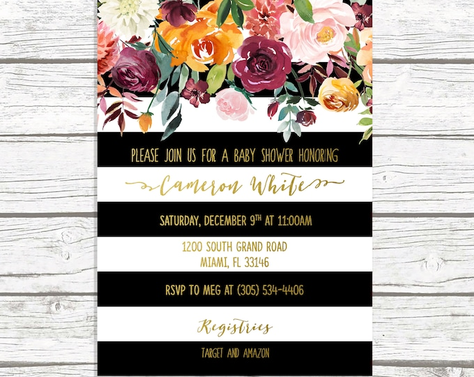Gender Neutral Baby Shower Invitation, Black and White Stripe Baby Shower Invitation, Fall Baby Shower Invite, Fall in Love Baby Shower