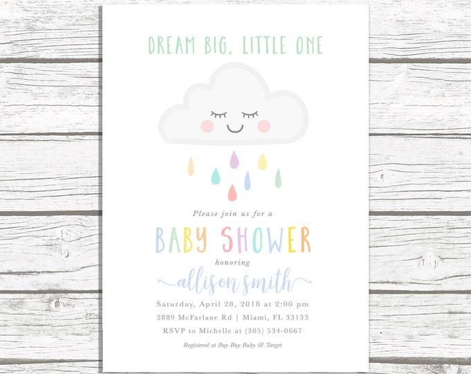 Cloud Baby Shower Invitation, Rainbow Baby Shower Invite, Dream Big Little One Baby Shower Invitation, Gender Neutral Baby Shower Invite