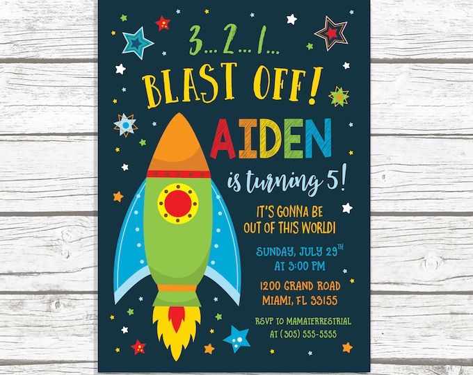 Space Invitation, Space Birthday Invitation, Space Party, Rocket Ship Invitation, Blast Off, Space Theme, Galaxy Birthday, Alien Birthday