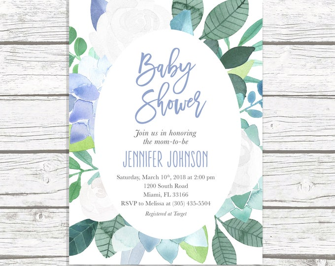 Blue Baby Shower Invitation, Baby Shower Invitation Boy, Succulent Baby Shower Invite, Floral Baby Shower, Leaves Printable Invitation