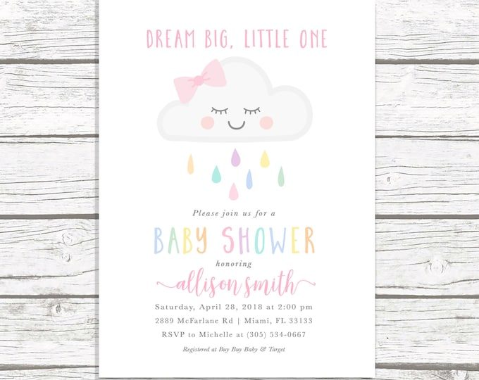Cloud Baby Shower Invitation Girl, Rainbow Baby Shower Invite, Dream Big Little One Baby Shower Invitation, Baby Shower Invite, Printable