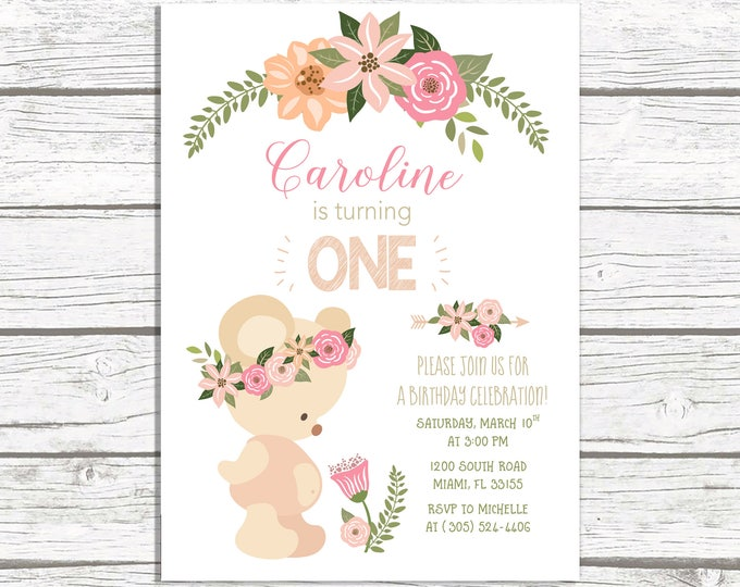 Teddy Bear Birthday Invitation, Boho Birthday Invitation, Girl First 1st Birthday Invite, Bear Birthday Invitation, Tribal Arrow Invite