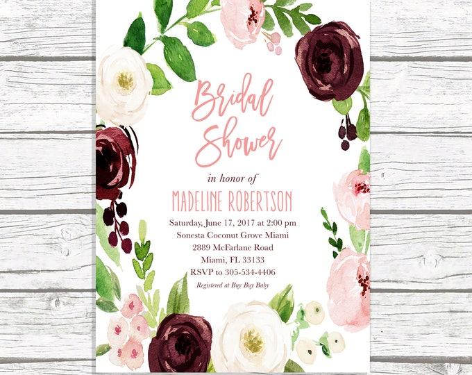 Bridal shower casa confetti design studio marsala bridal shower invitation bridal shower brunch invitation burgundy bridal shower invitationfall filmwisefo
