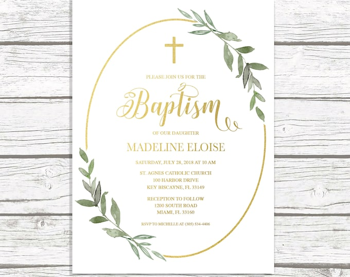 Greenery Baptism Invitation, Eucalyptus Baptism Invitation, Leaf Baptism Invitation, Gold Baptism Invite, Minimalist Christening Invitation