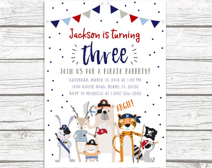 Pirate Birthday Invitation, Pirate Invitation, Pirate Birthday Party Invite, Pirate Party Invitation, First 1st Birthday Boy, Boy Birthday