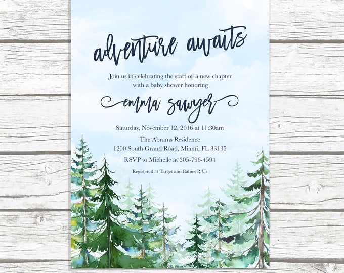 Adventure Baby Shower Invitation, Mountain Baby Shower Invitation, Conifer Trees Baby Shower, Winter Baby Shower, Adventure Awaits Invite