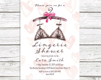 Lingerie shower invitation etsy lingerie shower invitation lingerie bridal shower invitation pink watercolor lingerie invitation ooh la la lingerie shower printable filmwisefo