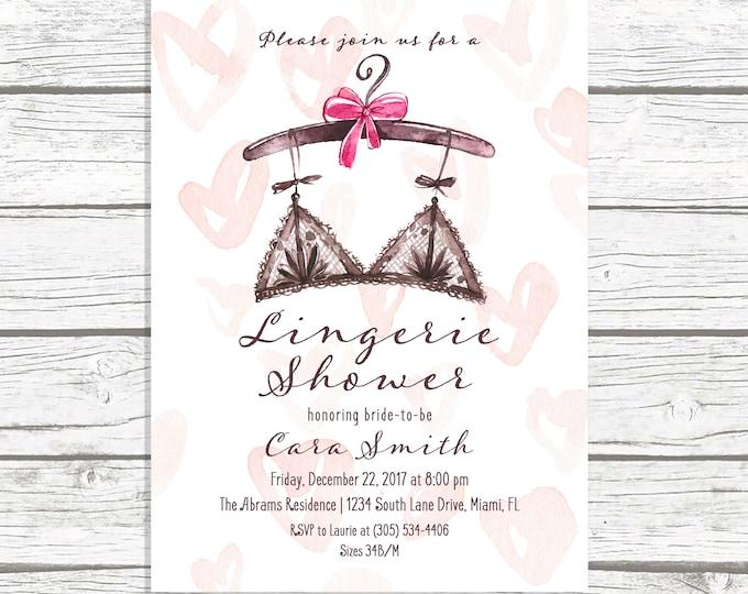 Lingerie Shower Invitation, Lingerie Bridal Shower Invitation, Pink Watercolor Lingerie Invitation, Ooh La La Lingerie Shower Printable