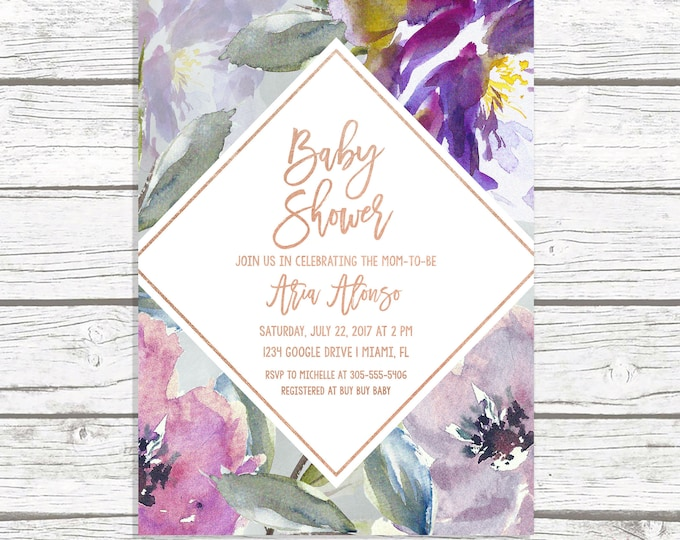 Fall Baby Shower Invitation, Gender Neutral Baby Shower Invitation, Purple Baby Shower Invitation, Rose Gold Baby Shower Invite