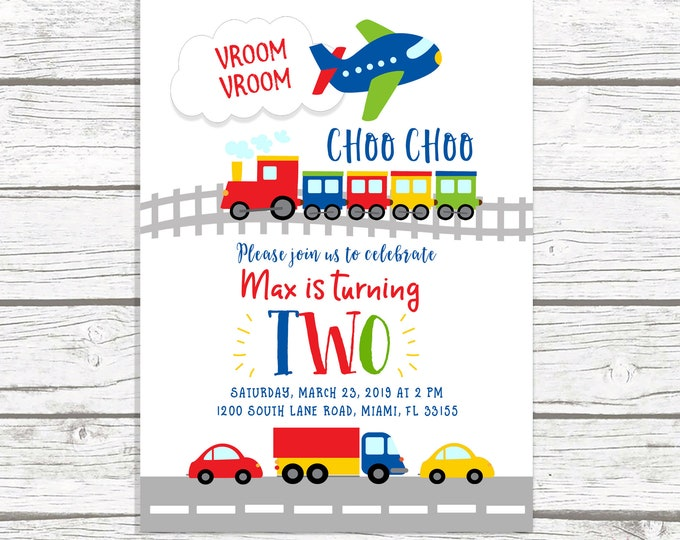 Transportation Birthday Invitation, Planes Trucks and Cars Birthday Invitation, Boy Birthday Invitation, First 1st Birthday Boy