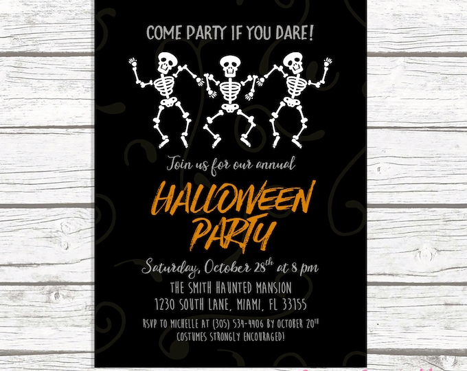 Dancing Skeletons Halloween Party Invitation, Skeleton Halloween Invitation, Halloween Invitation, Halloween Party Invitation, Costume Party