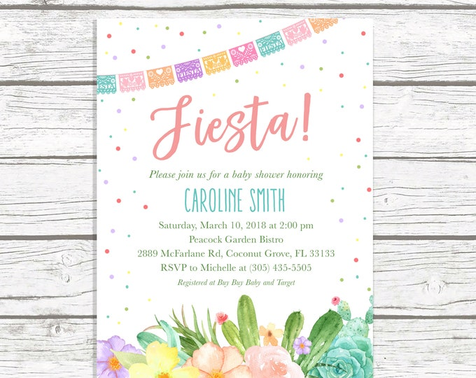 Cactus Baby Shower Invitation, Fiesta Baby Shower Invitation, Mexican Cinco de Mayo Invite, Succulent Baby Shower, Floral Cactus Printable