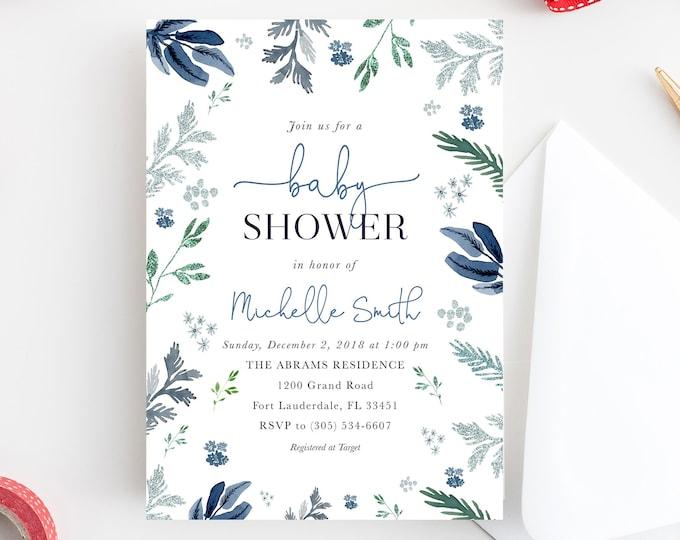 Winter Baby Shower Invitation, Boy Baby Shower Invitation, Winter Wonderland Baby Shower, Christmas Baby Shower, Blue Silver Glitter
