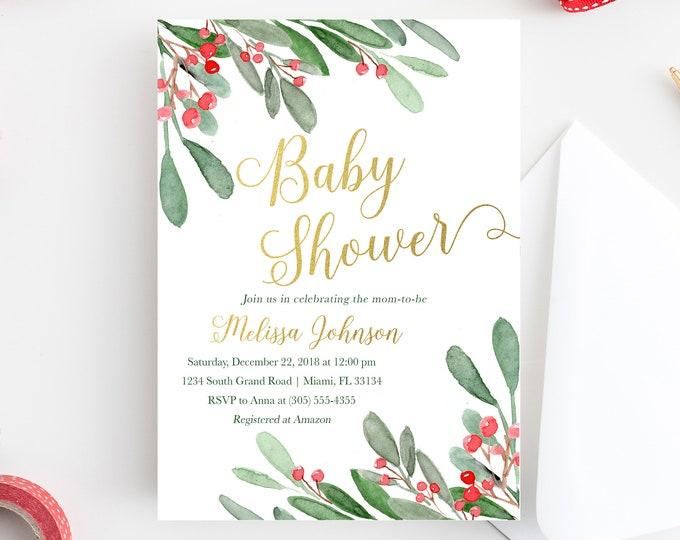 Christmas Baby Shower Invitation, Holly Baby Shower Invitation, Winter Baby Shower, Christmas Floral Invite, Holly Invitation