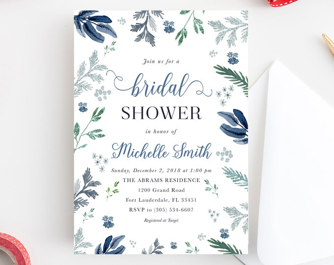 Winter Bridal Shower Invitation, Winter Wonderland Invitation, Wonderland Bridal Shower, Blue Christmas Bridal Shower Silver Glitter Wedding