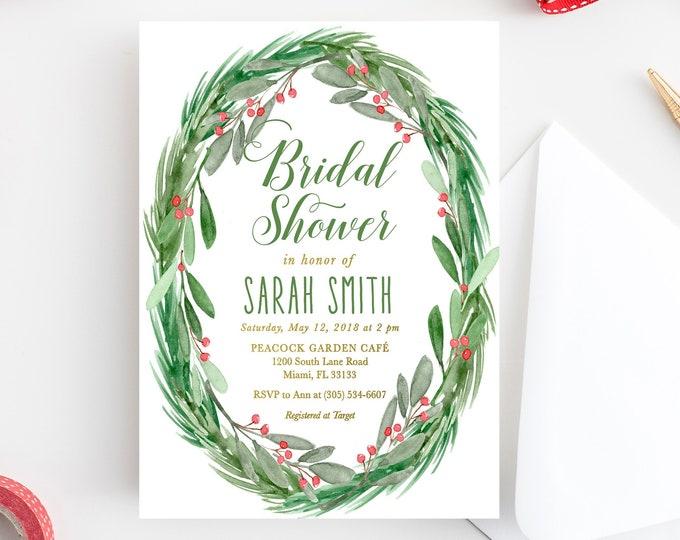 Christmas Bridal Shower Invitation, Holly Bridal Shower Invitation, Winter Bridal Shower, Christmas Floral Invite, Holly Invitation