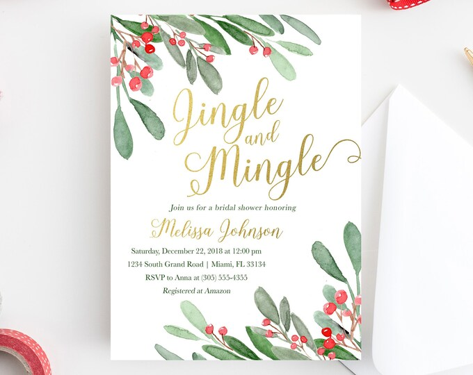 Christmas Bridal Shower Invitation, Holly Bridal Shower Invitation, Jingle and Mingle Bridal Shower Invite, Winter Bridal Shower Invitation